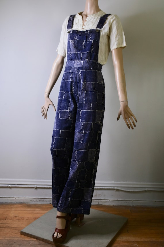 vintage overalls, 70s overalls, patchwork, novelty