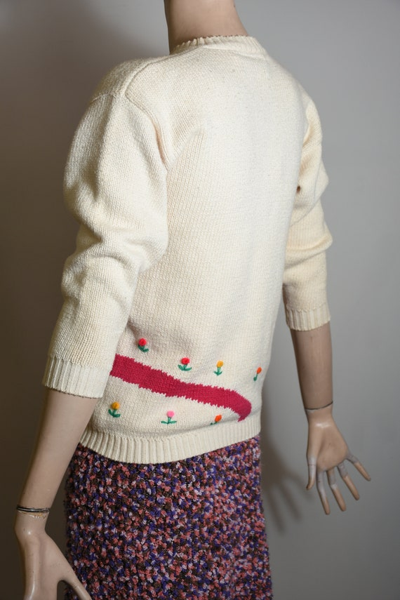 vintage 80s sweater, novelty knit, novelty sweate… - image 7