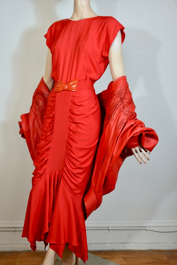 vintage 80s dress, red dress, 40s dress, red gown,