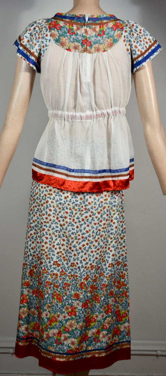 vintage 70s dress, 70s set, floral dress, gauze d… - image 6