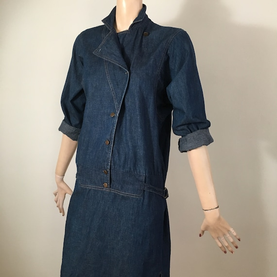 vintage 80s denim, 80s denim dress, denim dress, … - image 2