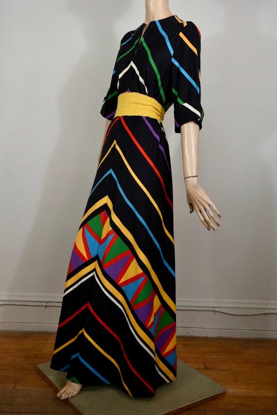 vintage 80s dress, vintage caftan, rainbow dress,