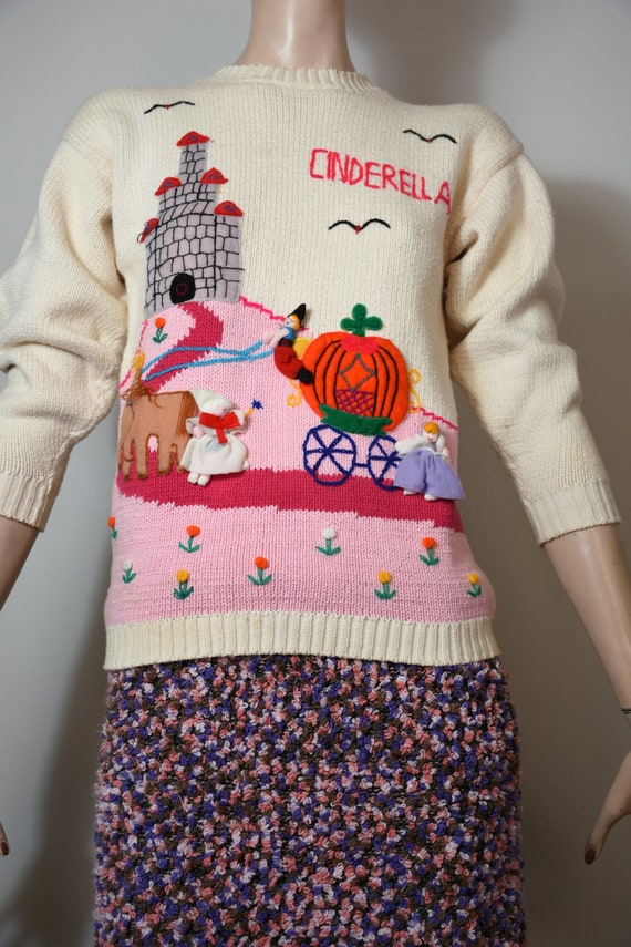 vintage 80s sweater, novelty knit, novelty sweate… - image 1