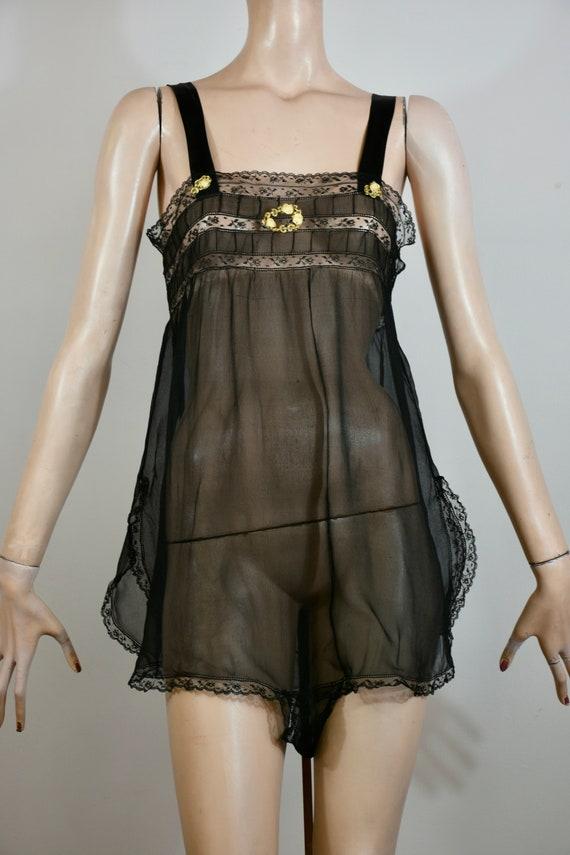 vintage 20s lingerie, sheer black jumper, silk ted