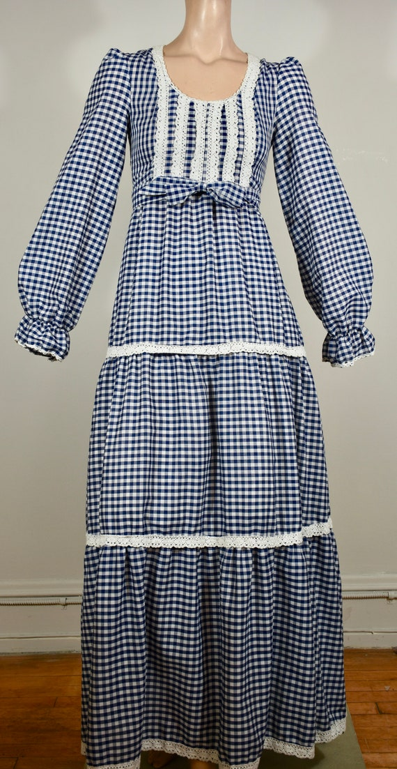 vintage gingham dress, 70s maxi dress, prairie dre