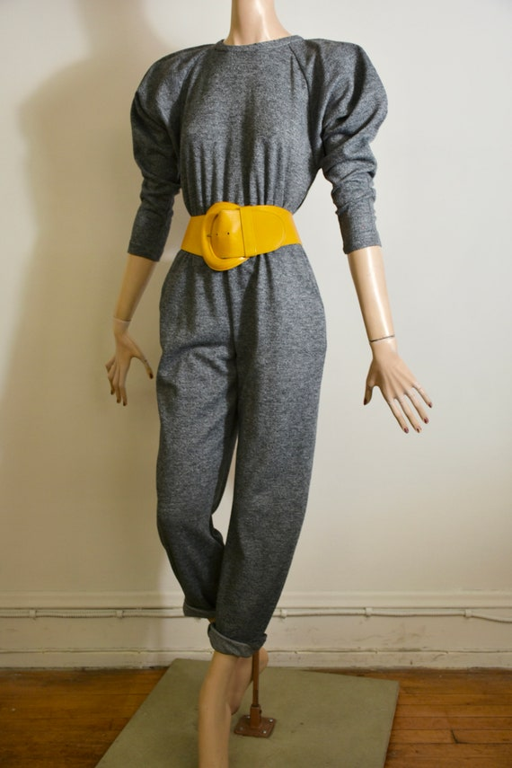 vintage 80s jumpsuit, 90s jumpsuit, grey jumpsuit,