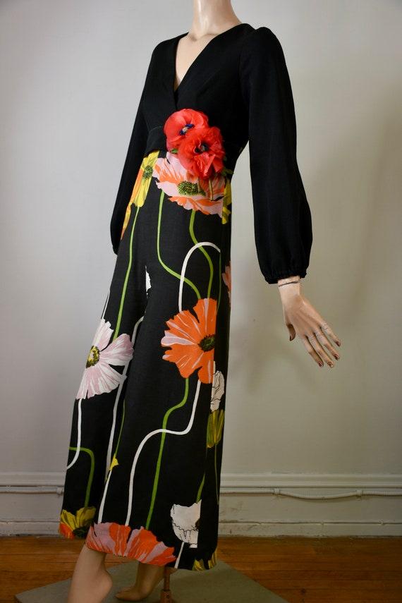 vintage 60s jumpsuit, 60 palazzo suit, floral jump