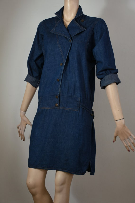 vintage 80s denim, 80s denim dress, denim dress, … - image 3