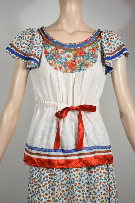 vintage 70s dress, 70s set, floral dress, gauze d… - image 5