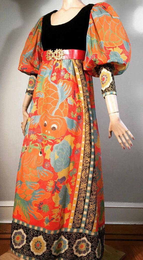 vintage 60s 70s KOI FISH hippie dress boho dress 7