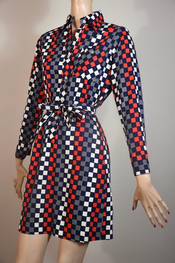 vintage 60s cotton dress, 70s cotton shirt dress,