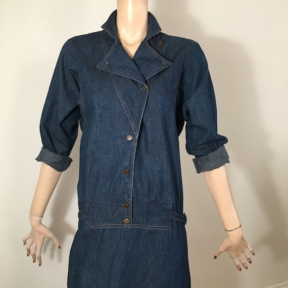 vintage 80s denim, 80s denim dress, denim dress, … - image 4