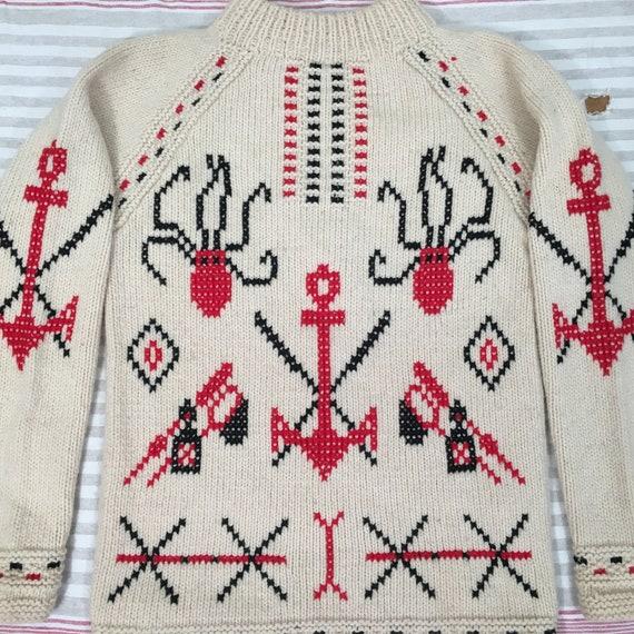 40s sweater, 50s sweater, novelty sweater, wool kn