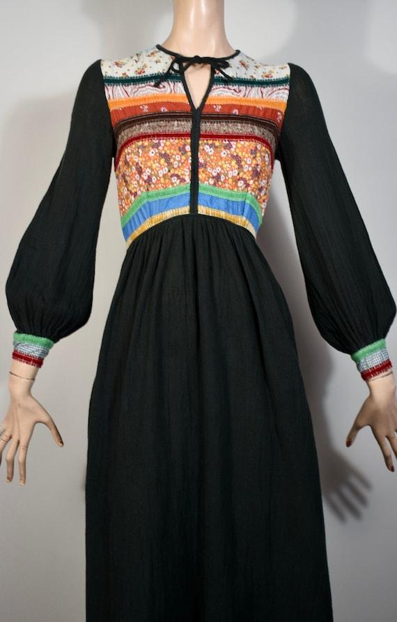 vintage 70s patchwork dress, gauze 70s dress, 70s