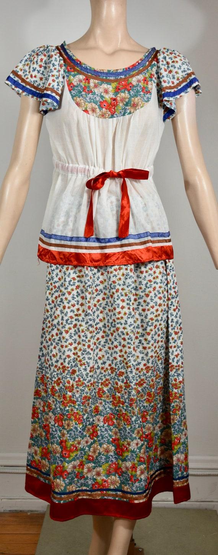 vintage 70s dress, 70s set, floral dress, gauze d… - image 1