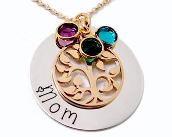 Grandma Birthstone Necklace, Family Tree Necklace for Grandma, Personalized Nana Necklace, Gift for Grandma, Gift for Mom Necklace From Kids
