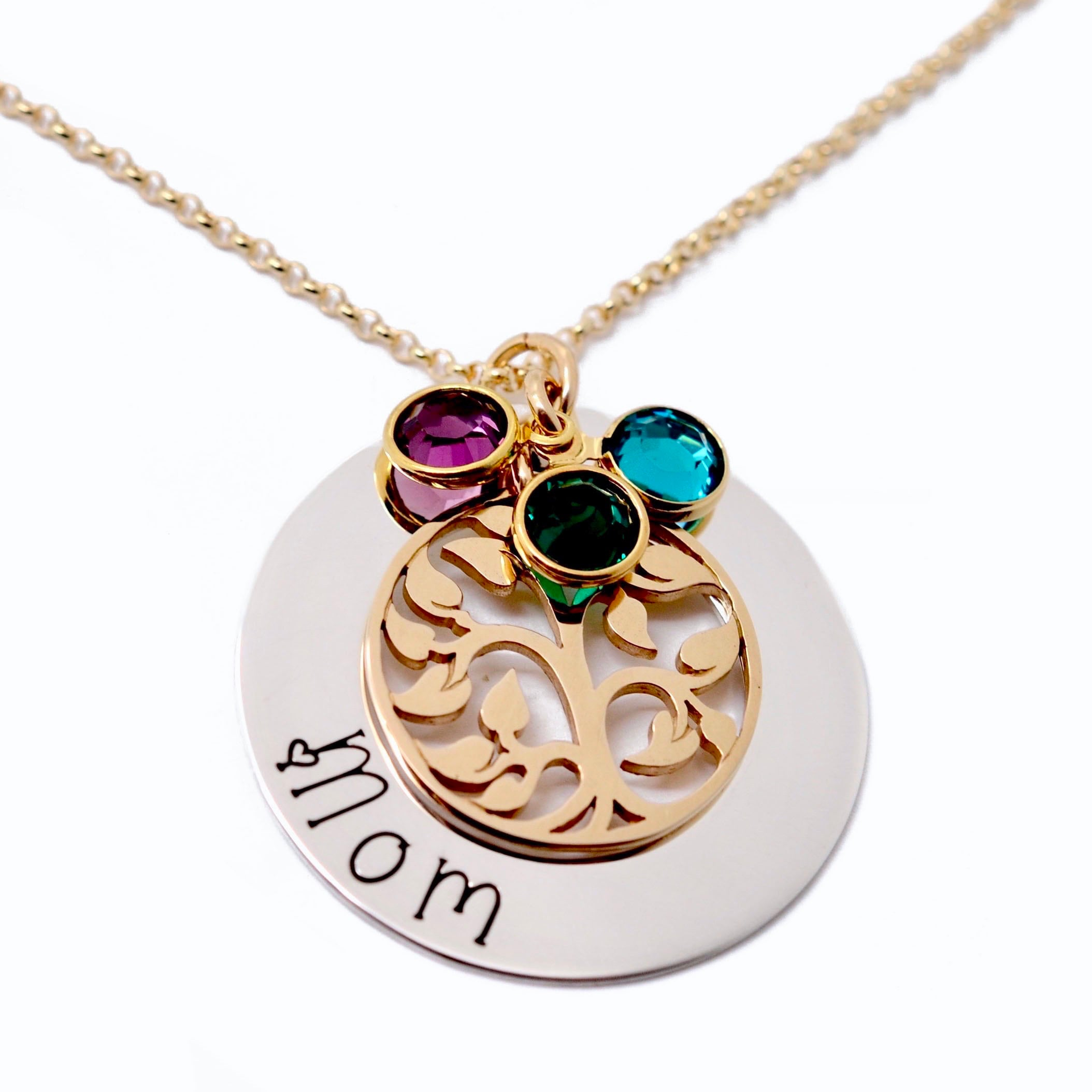 Personalized Mothers Necklace Birthstone Necklace for Mom Sterling Silver Family Tree Necklace Personalized Necklace Mothers Jewelry Gift