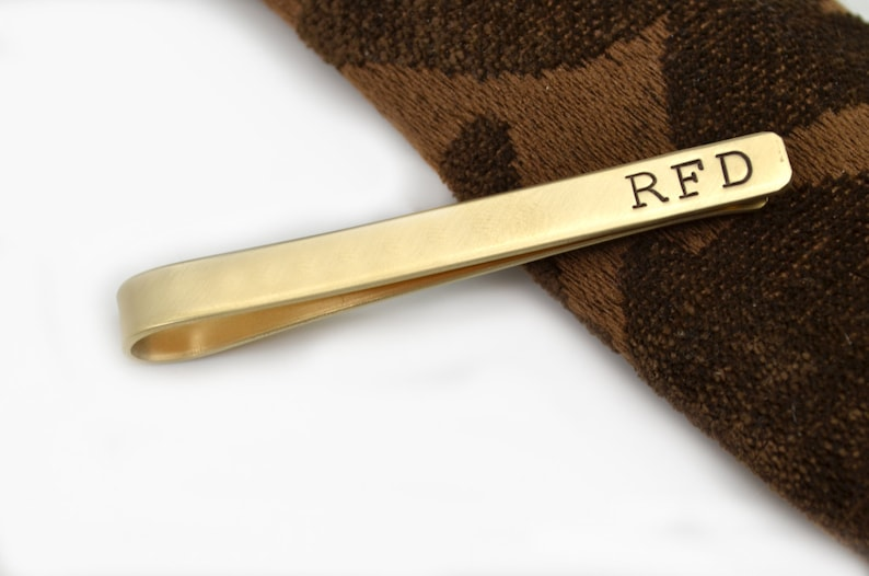 Gift for Men Brass Tie Clip Gift for Dad Groomsmen Gift Personalized Tie Clip Fathers Day Gift Brass Tie Clip Engraved Tie Bar