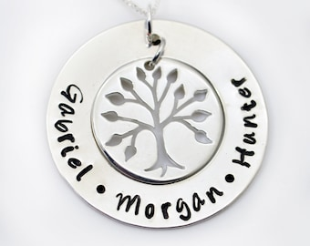 Personalized Mothers Necklace, Grandma Family Tree Necklace, Hand Stamped Mommy Jewelry, Mom Gift, Personalized Mommy Jewelry, Nana Gift