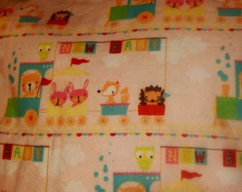 Cotton Snuggle Flannel Fabric New Baby Animals Train Bunny Owl Pink BTY