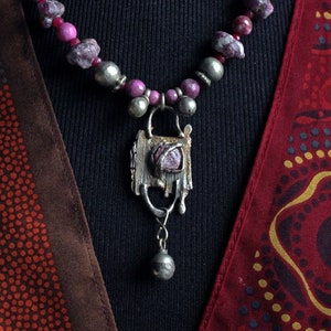 Genuine Ruby Nuggets /& Pink Gems Set in Oxidized Sterling Silver WSilver Bell Dangle:Old Turkmen Silver Beautiful Madagascar Natural Ruby
