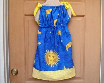 Summer dress  Girls Sun Dress--New design for summer--sun, moon and stars with border