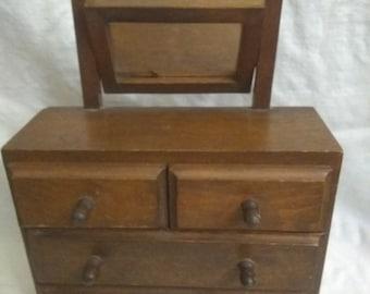 Vintage Hand Made Salesman Sample Dresser w/ Mirror Doll House Furniture