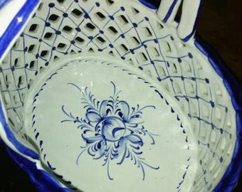 Portugal RCCL Hand Painted Large Reticulated Basket 406.A
