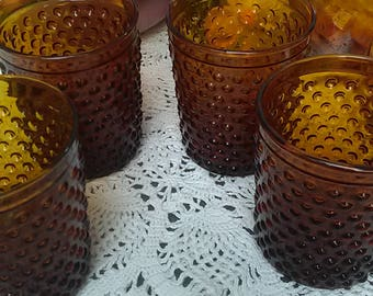 Vintage Set of 4 Amber Hobnail Juice Low Ball Whiskey Glass Bar Glasses