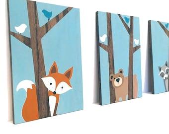 Woodland Nursery Art - Nursery Wall Art - Fox Decor - Forest Friends Nursery - Woodland Animals Nursery - Wood Signs - Woodland Creatures