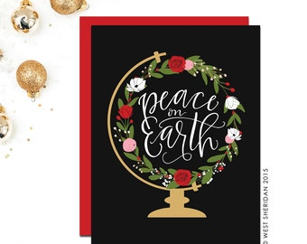 Christmas Cards Boxed Set Sale / Holiday Card Set / Peace on Earth / Religious/ Floral Globe / Hand Lettered