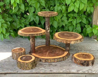 Large Log 4 Tier Elm Wood Rustic Cake 65 Cupcake Collapsible Stand Wedding party shower wooden, donut, lumberjack party, boho, wild things a