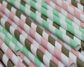24 pale pink mint green and metallic gold striped stripes paper straw first birthday bridal baby shower