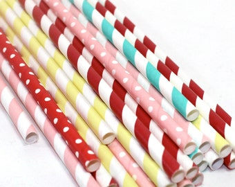 24 Carnival Girl Themed birthday party baby shower Straws decorations Pink pal yellow teal red stripes chevron boy scouts cub scouts