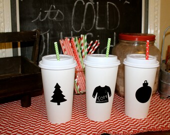 25 Ugly Sweater Ornament Tree Shaped Chalkboard Labels for Hot cocoa chocolate bar Christmas party idea supplies decorations decor