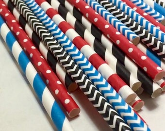 Thomas the train 24 red black and blue straw pack birthday party baby shower decorations supplies