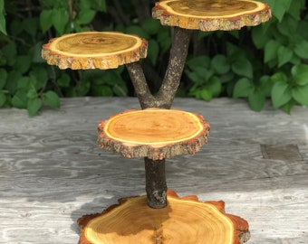 Black Locust Wood Rustic Cake 25 Cupcake Stand Wedding party shower wooden 4 tier pie stand cookie plate, lumberjack, wild things are, boho