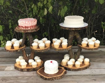 2 Diamond Shaped collapsible Stands Wood Rustic Cake Cupcake Stand Wedding party shower wooden 4 tiered Step and a wood slice
