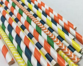 GooDnight Moon paper straws stars baby shower birthday party blue yellow navy orange gree striped chevron polka dot