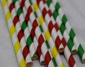 24 Super Mario brothers bro's birthday party paper straws red yellow green striped