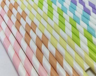 Pastel Rainbow birthday party Shower 24 Paper striped stripes paper straws