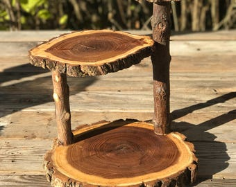Jumbo 3 Tiered Elm Wood Rustic Cake 30 Cupcake Stand Collapsible Wedding party donut outdoor wedding log lumberjack shower wooden 3 tiered