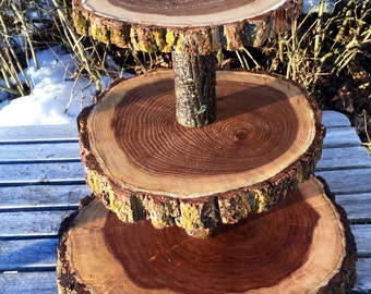 Large Log Elm Wood Collapsible Rustic Cake 70 Cupcake or 120 donut Stand Wedding party shower wooden 3 tiered