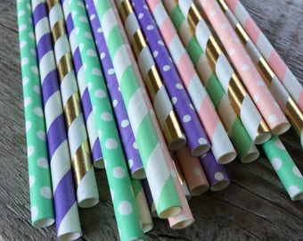 BE A Unicorn straw pack Rainbow birthday party unicorn Shower 24 Paper striped chevron polka dotted stripes paper straws mint lavendar pink
