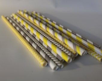 Yellow and grey gray twin baby boy girl birthday party Shower gender reveal 24 Paper striped chevron polka dotted stripes paper straws