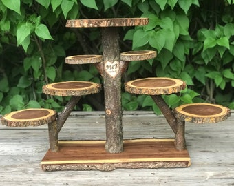Log Elm Wood Rustic Cake 90 Cupcakes Pie Stand Wedding party shower wooden 8 tiered Collapsible with wood burning, lumberjack party, boho
