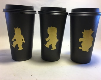 Gold WhEre The WILD things are Chalkboard cups for hot cocoa bar or mason jars baby shower birthday party decorations decor favor wtwta