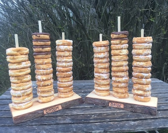 2 Large Log Wood Rustic 30 Donut Stands (Bride & Groom) Wedding party shower wooden, Donut Stand, with wood burning and screw-in dowels.