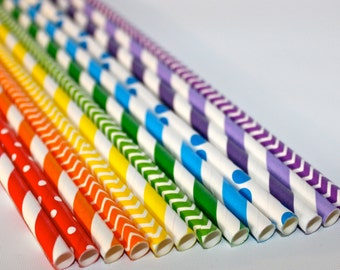Rainbow birthday party unicorn Shower 24 Paper striped chevron polka dotted stripes paper straws