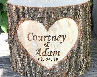 Large Log Wood Stump (11-12in) Rustic Cake Stand with wood burned Names and Date surrounded by a heart Wedding party shower wooden